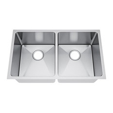 "32""x19"" Double Bowl 50/50 Undermount  Kitchen Sink, Without Strainer"
