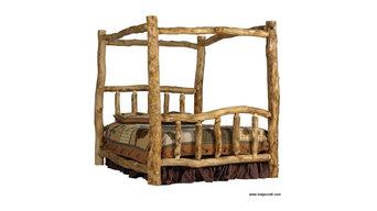 Alpine Aspen Log Canopy Bed