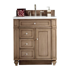 "Bristol 30"" Vanity, White Washed Walnut, Santa Cecilia Granite Top"