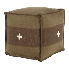 Swiss Army Pouf Green and Brown, 18x18x18