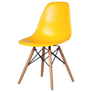 Midcentury Modern DSW Chair, Wooden Dowel Legs, Yellow