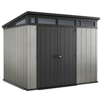 "Keter Artisan 9""x7"" Large Outdoor Resin Storage Shed With Modern Gray Design"