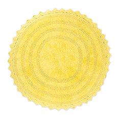 DII Yellow Round Crochet Bath Mat