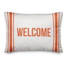 Welcome Farmhouse Stripes Outdoor Lumbar Pillow