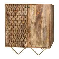 Nive 2-Door Chevron Patterned Light Mango Wood Sideboard With Gold Legs