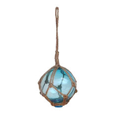 """Light Blue Japanese Glass Ball Fishing Float With Brown Netting Decoration, 3"""""""