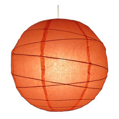 Medium Easy-Fit Paper Lanterns With Bamboo Frame, Peach