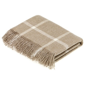 Natural Collection Pure New Wool Brown Windowpane Throw