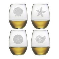 Beachcomber 4-Piece Stemless Wine Glass Set