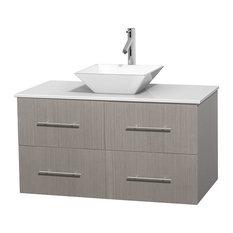 "42"" Gray Oak Single Vanity, White Man-Made Stone Top, White Porcelain Sink"