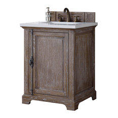 "Providence 26"" Driftwood Single Vanity, Snow White Quartz Top"