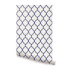 Moroccan Small Pattern Wallpaper, Navy, 2