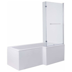 L Shape Square Shower Bath, White Ceramic With Front Panel and Screen, Modern