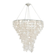Worlds Away - Large Round Capiz Shell Chandelier With Interior Nickel  Plated Socket - Chandeliers