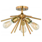 Vaxcel - Estelle 17-in W Brass Mid-Century Modern Sputnik Semi Flush Mount Ceiling Light - Mid-century meets modern with this timeless and uniquely artistic sputnik semi-flush mount ceiling light from the Estelle collection. It features three exposed vintage Edison filament bulbs, adding elegance and drama to your dining room, living room, foyer, kitchen, or bedroom. Available in natural brass and polished nickel finish that complements just about any decor. Combine that with a vintage Edison style filament bulb to complete the look.