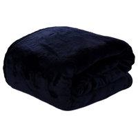 HYSEAS Velvet Plush Blanket, Home Fleece Bed Throw Blanket, Queen, Navy Blue