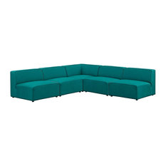 Mingle 5-Piece Upholstered Fabric Armless Sectional Sofa Set, Teal