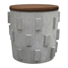 Concrete Accent Table/Stool With Storage Under Natural Wood Top