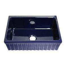 Whitehaus WHQ330-BLUE Fireclay 30'' Single Bowl Fluted Farmhouse Sink Blue