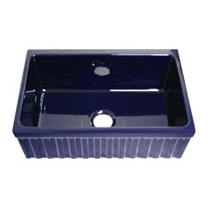 Whitehaus WHQ330-BLUE Fireclay 30'' Single Bowl Fluted Farmhouse Sink Blue