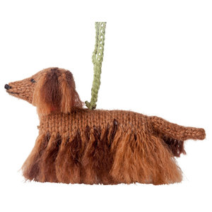 Hand-Knit Long Haired Dachshund Ornament, Set of 2