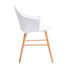 Dresda Modern Dining Chair, White and Natural