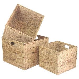 Square Water Hyacinth Storage Set, Set of 3