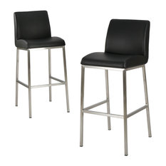 GDF Studio Jalen Black Leather Bar Stools, Set of 2