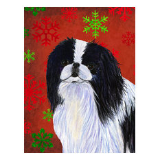 Japanese Chin Red and Green Snowflakes Holiday Christmas Flag Canvas House Size