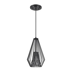 61080-1 Adjustable 1-Light Hanging Mini Pendant Ceiling Light, Black