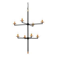 Minimalist chandeliers houzz kathy kuo home quinto modern classic black gold minimalist 2 tier 8 light aloadofball Choice Image