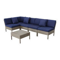 6 Pieces Contemporary Patio Set, Sectional Sofa With 3 Pillows and Coffee Table,
