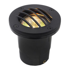 12V Composite Ground Well Light With Curved Grill Cover, Black