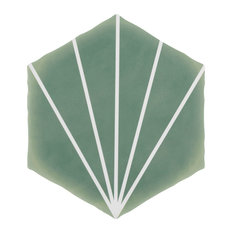 "SomerTile Palm Starburst Hex 6"" x 7"" Porcelain Floor and Wall Tile, Matte Green"