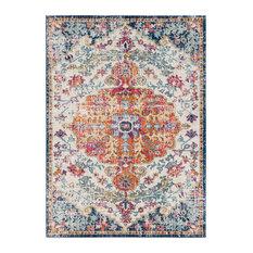 "Harput Traditional Saffron, Light Gray Area Rug, 6'7""x8'"