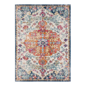 "Harput Traditional Saffron, Light Gray Area Rug, 7'10""x10'3"""