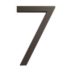"""Modern Font House Number, Bronze, 6"""", Number 7, Modern Font"""