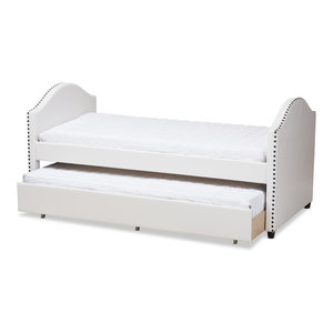 Memphis Daybed With Trundle Faux Leather Transitional