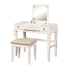 Residence   Drescher Makeup Vanity Set, White   Bedroom U0026 Makeup Vanities