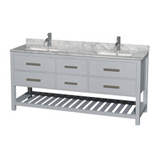 "Double Vanity, Gray, 72"", White Carrera Marble, Sinks: Undermount Square"