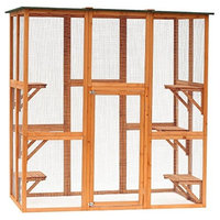 "PawHut 71"" x 39"" x 71"" Large Wooden Outdoor Cat Enclosure Patio Cage"