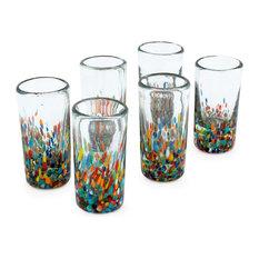 Carnival Blown Glass Shot Glasses, Set of 6
