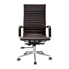 YesHom   Executive High Back Ribbed PU Leather Swivel Office Computer Desk  Chair Brown XL