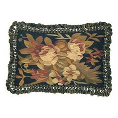 "New Aubusson Throw Pillow Handwoven 16""x24"""