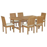 Marina 7-Piece Outdoor Teak Wood Outdoor Dining Set, Natural White