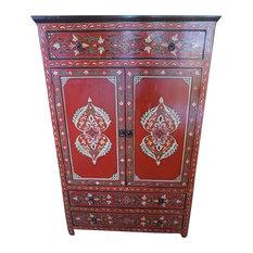 Handpainted Moroccan Handmade Cabinet, Red