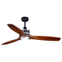 Curtiss 52 In. Black and Silver Outdoor Wood Ceiling Fan LED Light Kit Remote