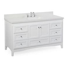 """Abbey 60"""" Bath Vanity, Base: White, Top: Quartz, Single Vanity"""