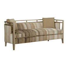 Bowery Hill Rose Wood & Upholstered Sofa In Latte