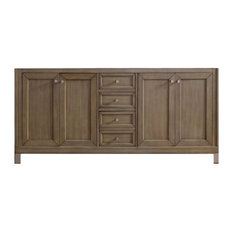 "72"" Chicago Double Cabinet Only Without Top, White Washed Walnut"